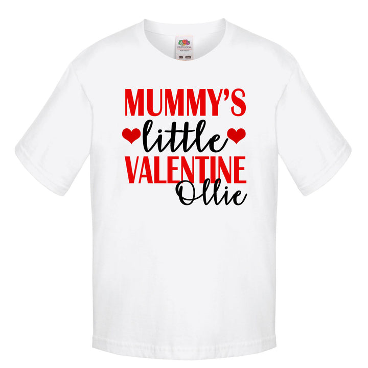 Mummy's Little Valentine T-shirt Personalised Kids Name Child Cute Day Tshirt