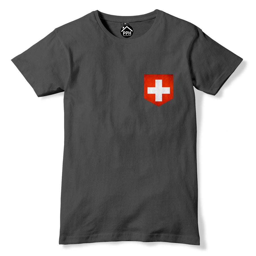 Vintage Print Pocket Switzerland Flag T Shirt Swiss Football Mens Tshirt 274