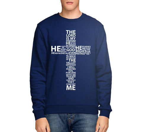 Image of Bible Quote Lord Is My Shepard SWEATSHIRT Mens Womens Jesus Cross Church  E18
