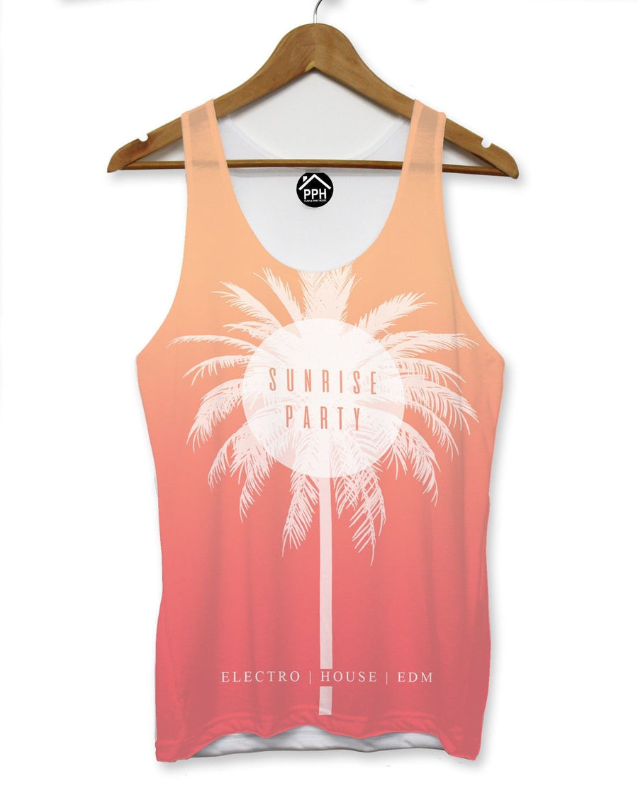 Sunrise Party Summer Vest Mens Tropical Palm Holiday Singlet Sleeveless Tank 104