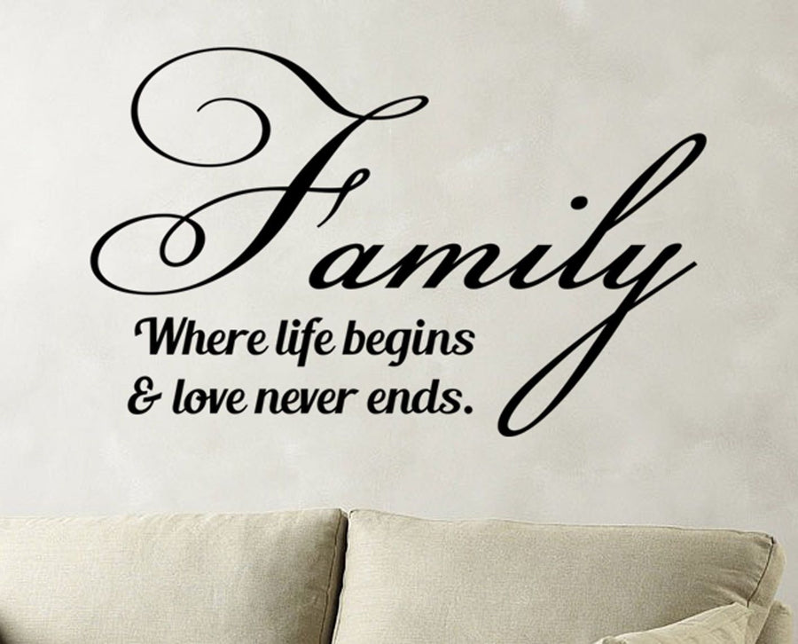 Family Where Life Begins Vinyl Wall Sticker Art Decals Decor Quote Decoration