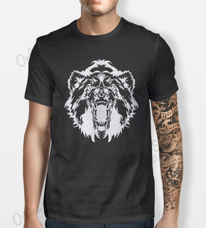 Bear Face Tshirt Mens Womens Shirt Tee Animal Mountain Grizzly Black Brown Wild