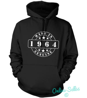 Made In 1964 Genuine Mens Womens Hoodie 50 Present Original Birthday Gift, Main Colour Black