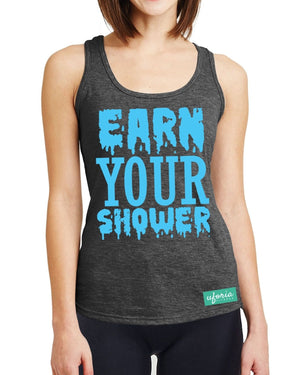 Earn Your Shower CHARCOAL Womens Gym Vest Racer Work Out Exercise Fitness U45