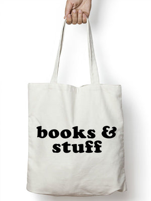 Books and Stuff Shopping Tote Bag Student Life College University Satchel M21