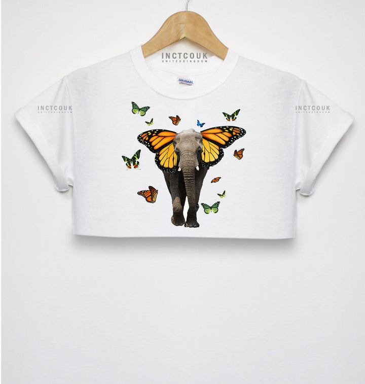 Butterfly Elephant Crop Top T Shirt Indie Hipster Girls Women Street Wear Swag