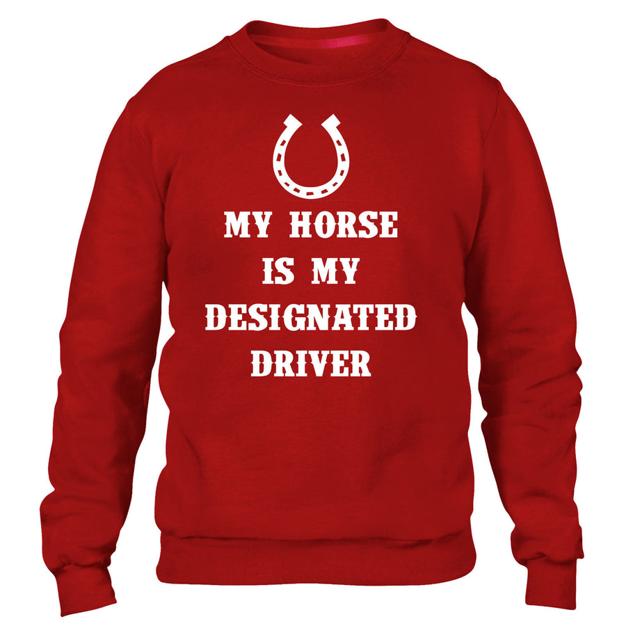 MY HORSE IS MY DESIGNATED DRIVER SWEATER FUNNY RIDING EQUESTRIAN WOMEN KIDS MEN