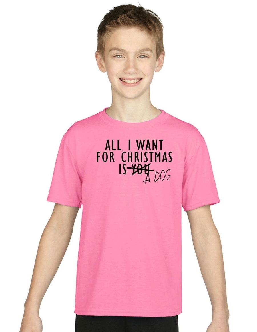 All I Want For Christmas Is A Dog KIDS CHILDRENS T Shirt Top Santa Puppy Girls