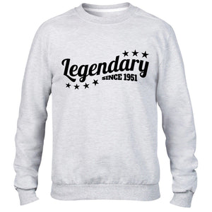 Legendary Since 1951 Sweatshirt Jumper Mens Womens Present Funny 65 66 Birthday