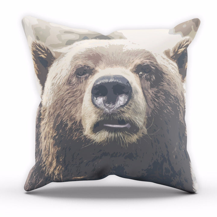 Animal Bear Cushion Nature Mountain Wildlife Home Decor Cover Pillow Linen C18