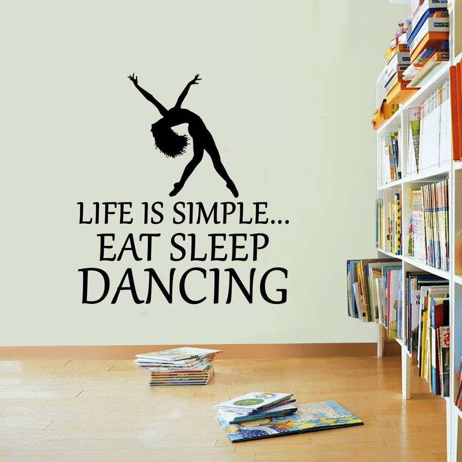 Life Is Simple Dancing Vinyl Sticker Rope Eat Sleep Decal Dance Wall Art Sport