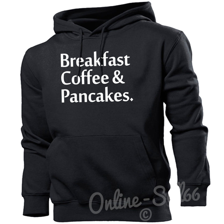 Breakfast Coffee + Pancakes Hipster Funny Hoodie Funny Food Hoodie Tumblr Top , Main Colour Black