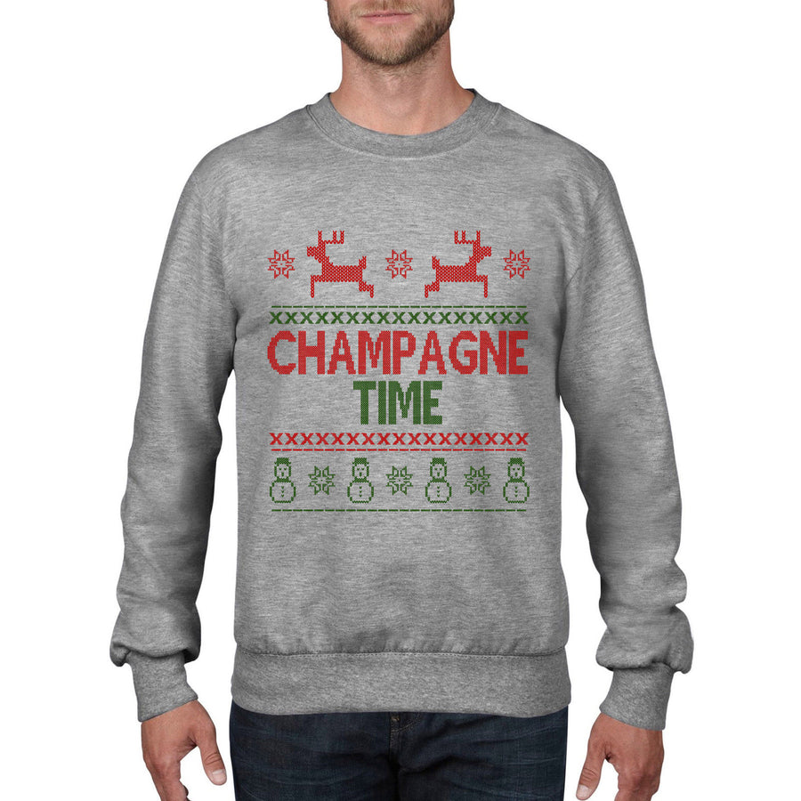 Champagne Time Christmas Jumper Xmas Sweatshirt Top Drink Drunk Party Santa CH18