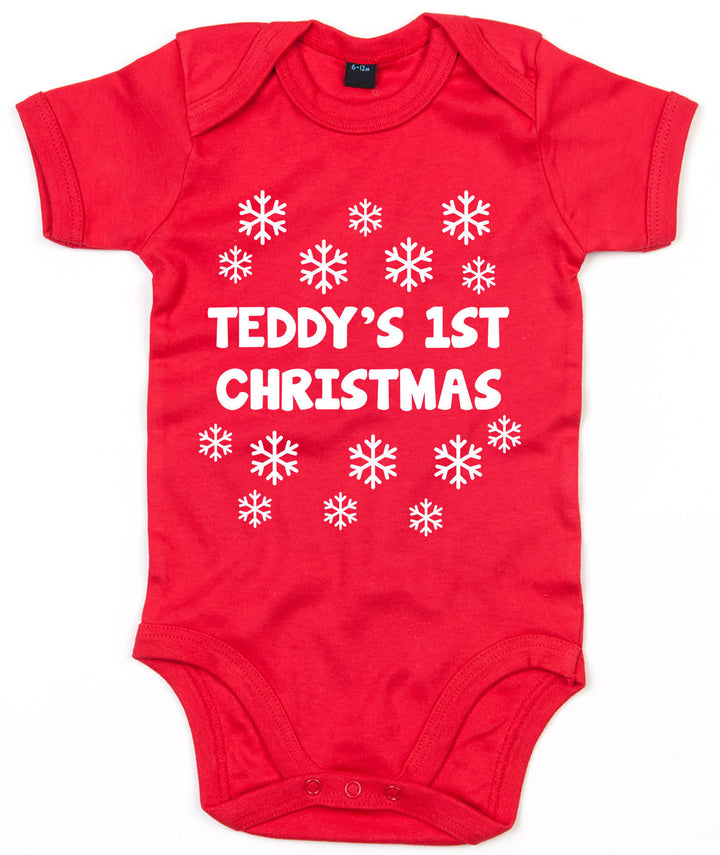 Snowflake Personalised Christmas Baby Grow Xmas Babygrow First 1st Boy Girl L130
