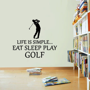 Life Is Simple Golf Vinyl Sticker Ball Club Tee Eat Sleep Decal Wall Art Golfer