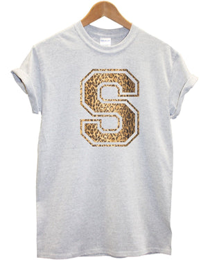 S Leopard Print T Shirt Animal Fashion Clothing Top Tee Mens Womens Kids , Main Colour Grey