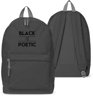 Black Is Poetic Back pack School bag Skate Emo Hipster Goth Gothic Holdall 15