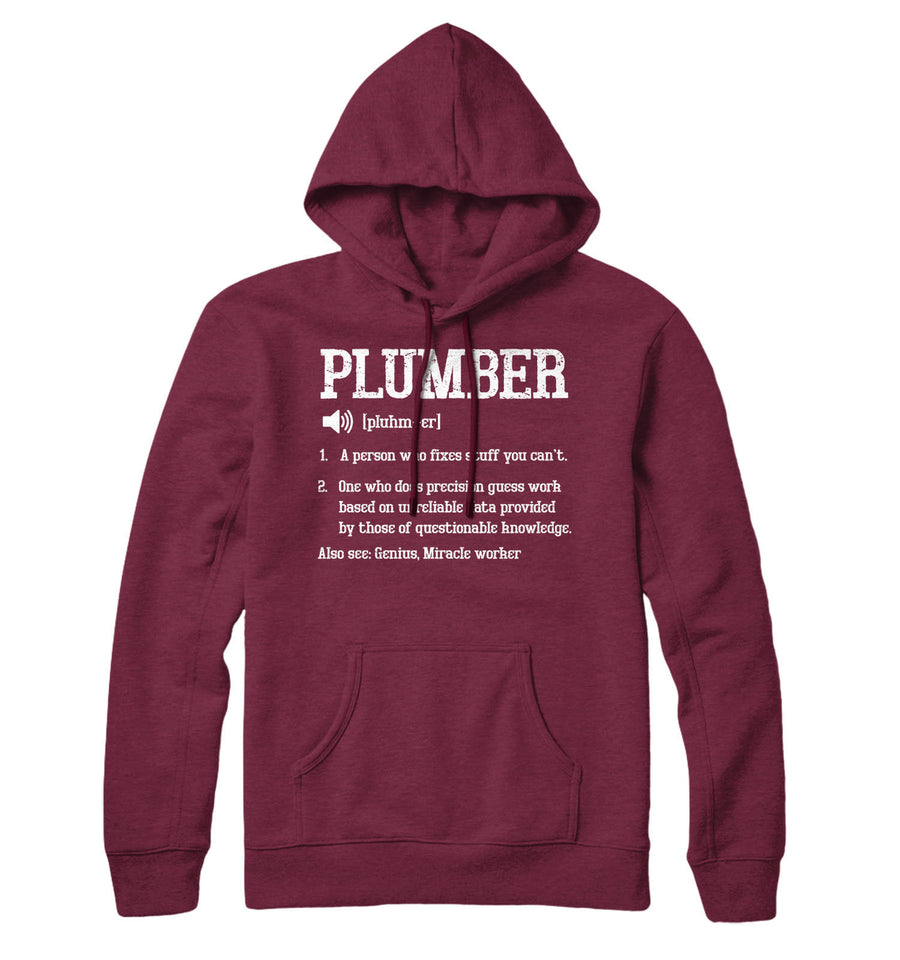 Plumber Definition Hoodie Funny Plumbing Hoody Mens Hooded Top Gift Idea L210