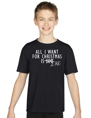 All I Want For Christmas Is A PUG KIDS CHILDRENS CHRISTMAS T SHIRT Santa Top