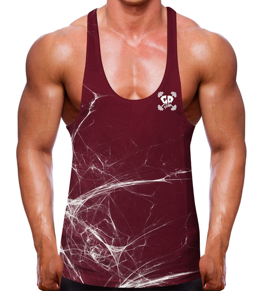 Shredded Burgundy Stringer Vest Gym Clothing Bodybuilding Men Training Top SC7