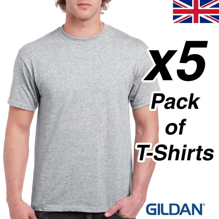 Mens Sport Grey T Shirt 5 Pack Gildan Heavy Cotton Top Work Tee Plain Cheap UK