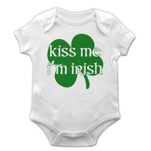 Kiss Me I'm Irish Baby Grow Vest Funny St Patrick's Day Paddy New Born Gift EP26