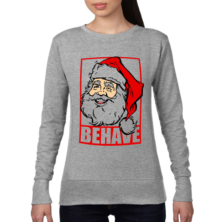 Behave Santa Claus Christmas Jumper Sweater Womens Kids Elf Merry Xmas Dope 462