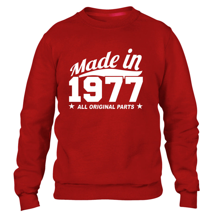 MADE IN 1977 ALL ORIGINAL PARTS SWEATER MENS WOMENS FUNNY GIFT BIRTHDAY COOL
