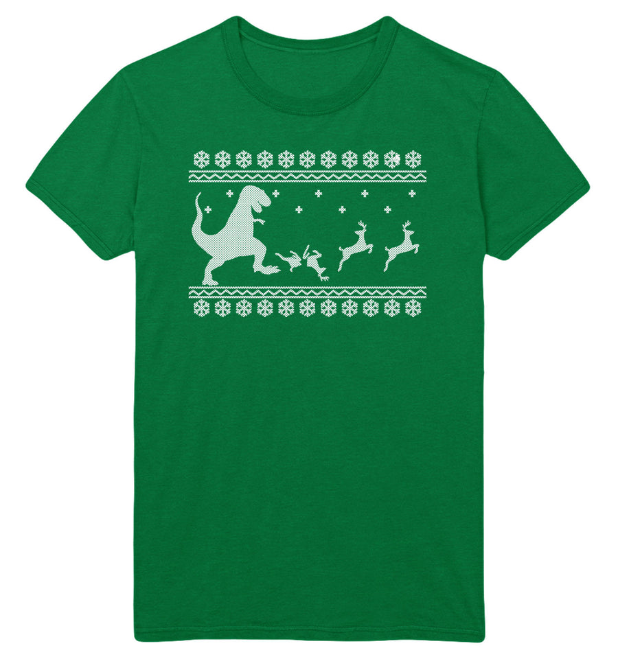 T-Rex Christmas Dinner T Shirt Men Women Kid Dinosaur Xmas Reindeer Funny Eating