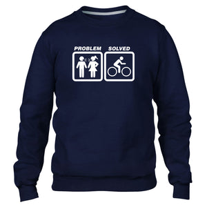 Cycling Problem Solved Sweatshirt Jumper Men Funny Women Present Bike Cycle Race