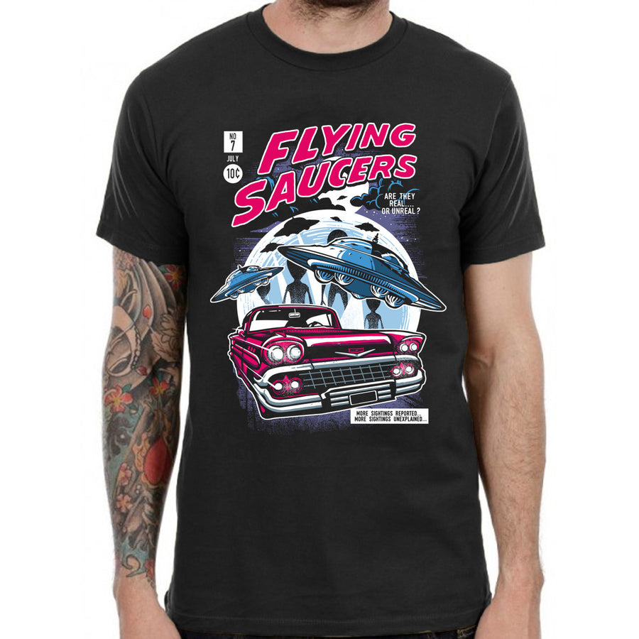 Flying Saucers UFO Alien Vintage T-Shirt 80s Retro Grunge Rocker Skater Gamer...