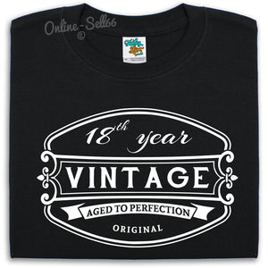 18 th Vintage Birthday Mens T Shirt Funny Present Drink Bday Gift Party Alcohol
