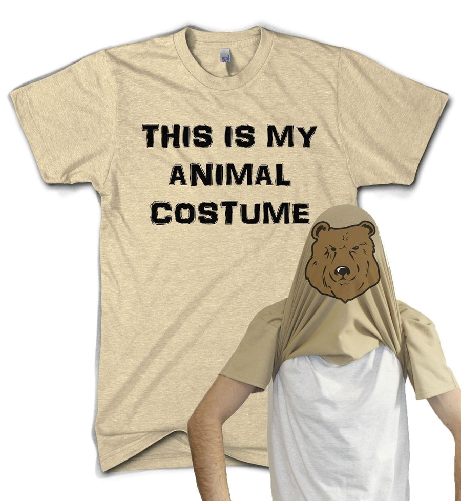 Animal Costume Flip T Shirt Bear Fancy Dress Party Gift Funny Present Comedy, Main Colour Sand