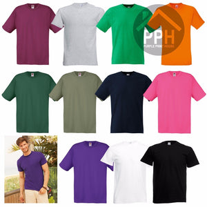 Fruit of the Loom 100% Cotton Plain T Shirt Mens Womens Tee T-Shirts Original