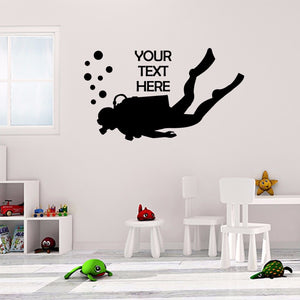 Personalised Scuba Diving Sticker Dive Custom Wall Vinyl Print Decal Art Design