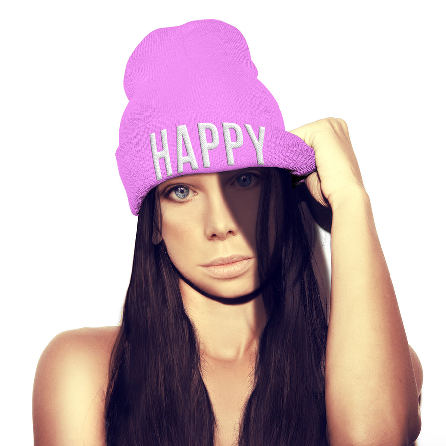 Happy Beanie Hat Embroidered Slogan Tshirt Mens Womens Bobble Hat Street Wear
