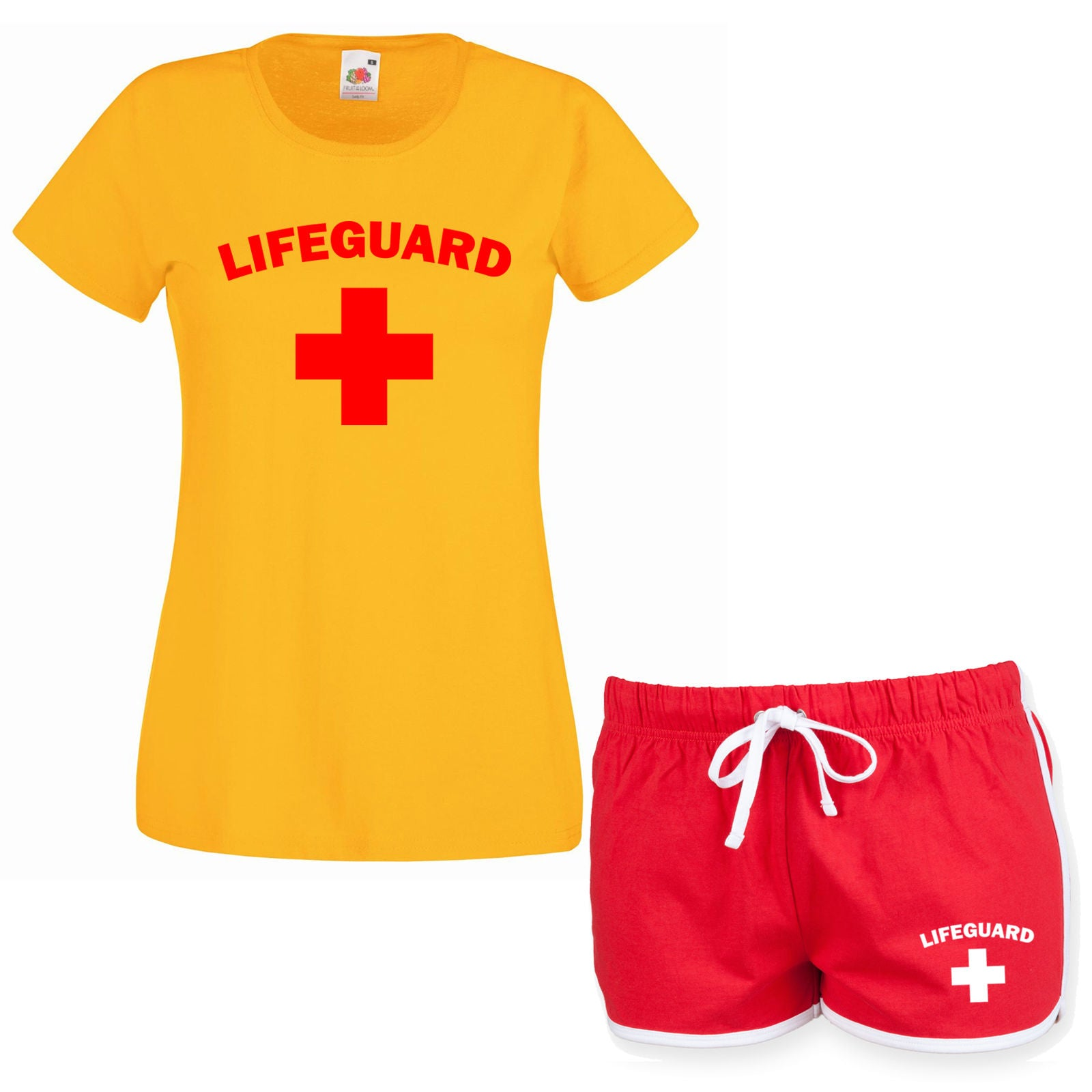 39dcef510d LIFEGUARD Ladies Yellow T Shirt & Red Shorts Fancy Dress Costume Outfit Set  Girl