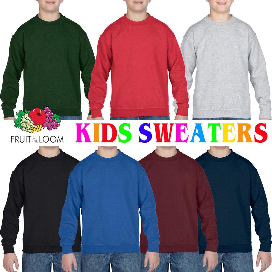 Fruit of the Loom Classic Childrens Sweatshirt School Uniform Jumper Boys Girls