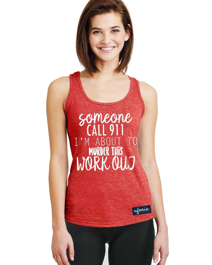 Someone Call 911 RED Womens Gym Vest Racer Back Work Out Exercise Fitness U44