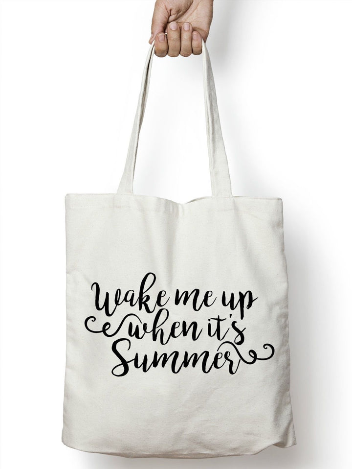Wake Me Up When It's Summer Tote Bag Shopper Cute Holiday Beach Slogan STP171