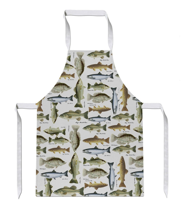 English Fish All Over Print APRON Funny Fisherman chef Cook Present Novelty Gift