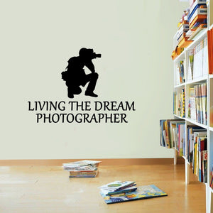 Photographer Sticker Living The Dream Camera Photo Wall Vinyl Print Decal Art