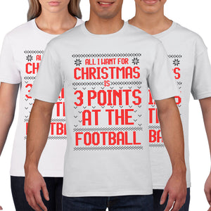Football All i want for Christmas is 3 Points T Shirt Funny Boys Mens Tee C50