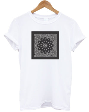 Bandanna Square T Shirt Printed Graphic Top Indie Hipster Swag Mens Womens Kids, Main Colour White