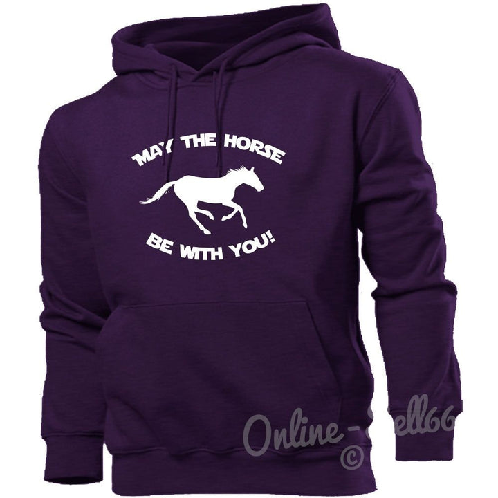 May The Horse Be With You Hoodie Funny Hoody Riding Ride Girl Men Women Clothing, Main Colour Purple