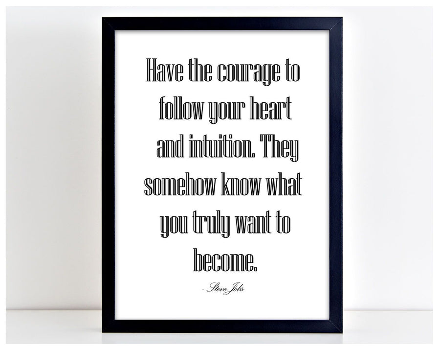Have The Courage Steve Jobs Quote Poster Print Typography Picture Frame Art PP34