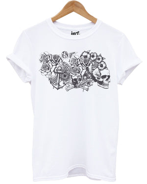 Cherub White T Shirt Skull Roses Cross Rosary Beads Emo Graphic Tattoo Design
