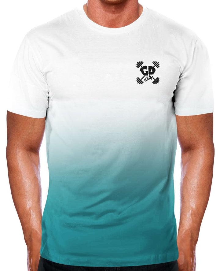 TEAL FADE GET DOWN GYMWEAR T SHIRT TOP TRAINING BODYBUILDING GYM MUSCLE FIT GEAR
