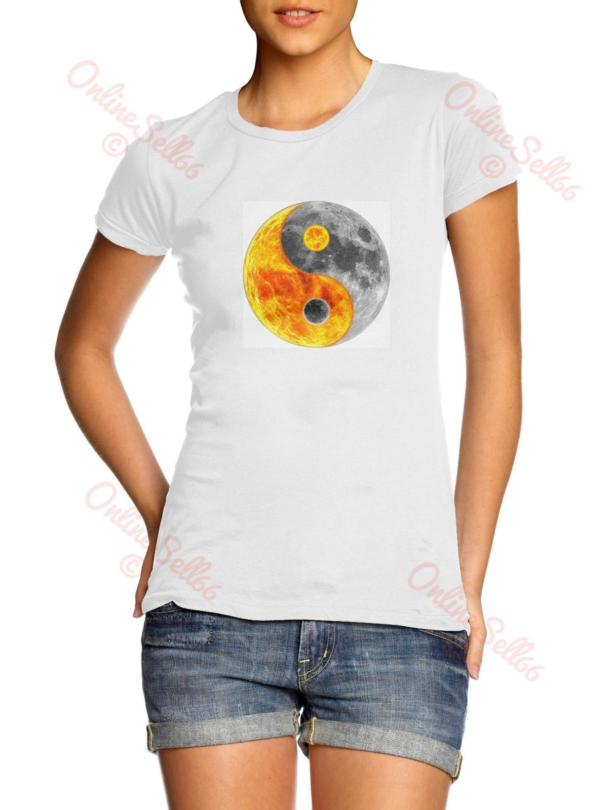 c6c77ecb Fireball Moon Yin Yang Tshirt Sign Mens Womens Skate T Shirt Chinese Hipster