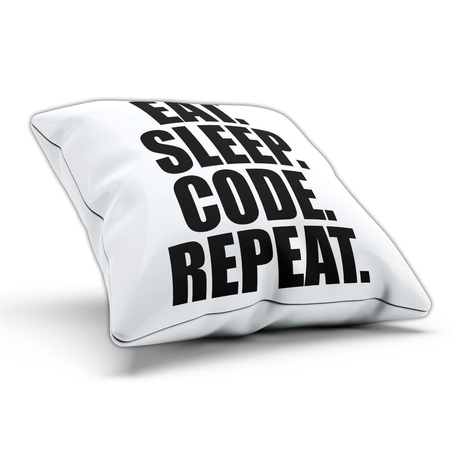 Eat Sleep Code Pillow Cushion Pad Cover Case Bed Geek Nerd Gaming Gamer Computer
